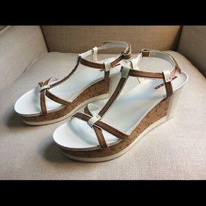 Prada Sandals Wedge Platform White Patent Cork 11